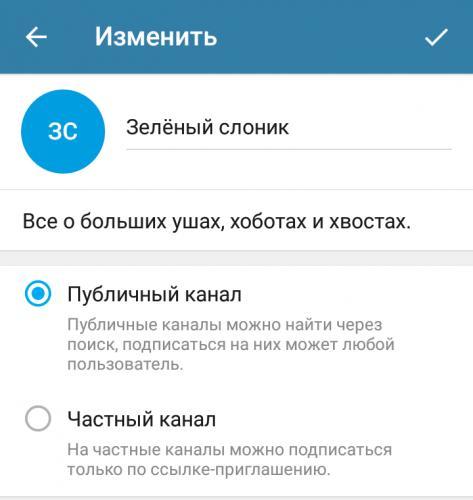 Экран настроек канала в мобильном приложении