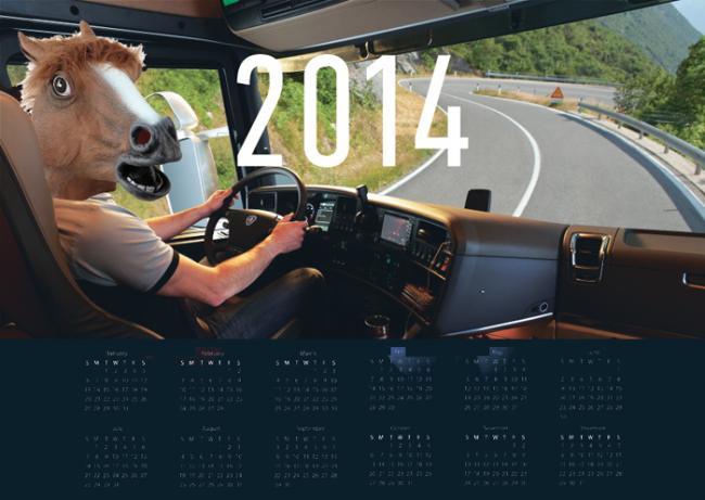 Календарь на 2014 год с лошадью.